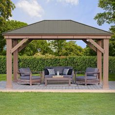 x Wood Gazebo with Aluminum Roof by Yardistry. Extend your outdoor living space with the beautiful and spacious Wood Gazebo with Aluminum Roof. The gorgeous Montana Bronze Aluminum Roof provides shade from the sun and protection from the rain. Diy Pergola, Deck With Pergola, Outdoor Pergola, Pergola Shade, Outdoor Decor, Cheap Pergola, Pergola Lighting, Wisteria Pergola, Rustic Pergola
