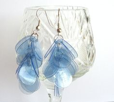 earrings made of recycled bottles