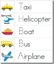 Transportation printable pack - vocabulary, tracing, counting and sorting activities for preschool and kindergarten. Preschool Projects, Preschool Themes, Preschool Lessons, Preschool Learning, Classroom Activities, In Kindergarten, Preschool Activities, Preschool Printables, Teaching