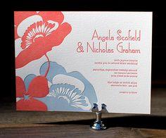 Simple Poppy - Bella Figura Letterpress Wedding Invitations - http://herbigday.net/simple-poppy-bella-figura-letterpress-wedding-invitations/