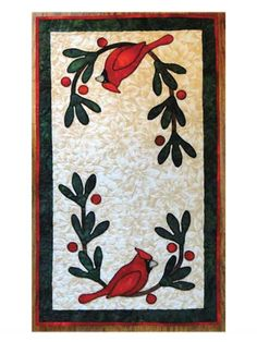 """Add these cute chicadee patterns to your table for the holidays!    These festive table toppers are the perfect addition to your dining room decor! Patterns are included for a 14"""" x 24"""" tablemat and a 13"""" x 18"""" place mat."""