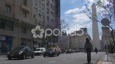 Central street in Buenos Aires at the bottom Obelisk - Stock Footage   by BucleFilms