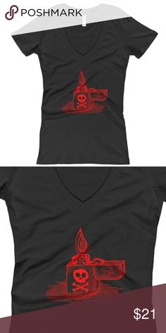 Ladies Skull Crossbones Lighter V-Neck T-Shirt Please expect a 5-7 day handling time for production. When the shirt is completed, it will be shipped immediately.  The ring-spun cotton and polyester blend give this v-neck tee an easy-breezy feel, perfect for a warm summer's day.  • Fabric laundered for reduced shrinkage • 100% combed cotton jersey • 36 singles  • Heather Grey is 90% combed ring-spun cotton/10% polyester • 1x1 baby rib set-in collar  Ladies Skull Crossbones Lighter Punk Rock…