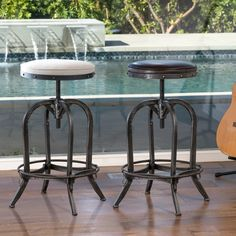 The Gunner swivel bar stool is a unique piece with all the elements to fit any urban style decor. It's built from iron material and the tubular base ensures sturdy construction. It features antique-stained legs, and the swivel seat is adjustable. Swivel Counter Stools, Counter Height Stools, High Bar Stools, Bar Furniture, Furniture Deals, Industrial Stool, Industrial Metal, Industrial Furniture, Industrial Design