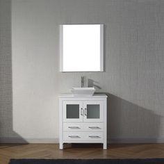 Virtu USA - KS-70030-S-WH-001 - Dior 30 in. Bathroom Vanity Set front view 30 Inch Bathroom Vanity, Best Bathroom Vanities, Vanity Set With Mirror, Single Bathroom Vanity, Vanity Sink, Modern Bathroom, Bathroom Ideas, Single Vanities, Downstairs Bathroom