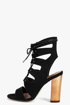 5b33c30408 Holly High Ankle Ghillie Block Heel at boohoo.com Nude Heels, Lace Up Heels