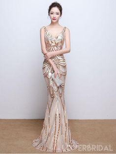 641a85d8d8a V Neck Gold Sequin Mermaid Long Evening Prom Dresses