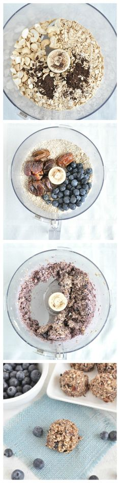 No Bake Blueberry Muffin Bites healthy enough for breakfast! No flour and no added sugars! #vegan #glutenfree #nobake #healthyrecipe
