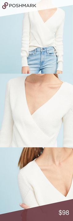 "Wrapped V-Neck Sweater By Moth for Anthropologie Cream color. Whether worn on its own or layered over a simple tee, this surplice pullover is a must-have for this season. Cotton, nylon, elastane Surplice silhouette Banded cuffs and hem Pullover styling 22.75""L Anthropologie Tops"