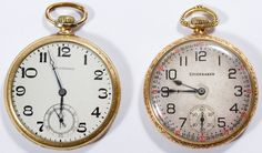 Lot 398: South Bend Watch Co. Studebaker Gold Filled Open Face Pocket Watches; Two 1925 pocket watches, serial #1120216 and #1120575, 21-jewel stem wind movement