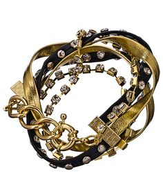 Blu Bijoux Black and Gold Color Studded Wrap Around Bracelet