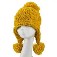 2016 New Fashion Great Balls Ear Warm Hat Knited Cap Winter Hat For Women/Ladies Free Shipping
