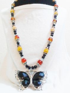 Beautiful Classy Womans Rinestone Beaded ButterFly Vintage Necklace Ladies Charm Jewerly B... $34.99