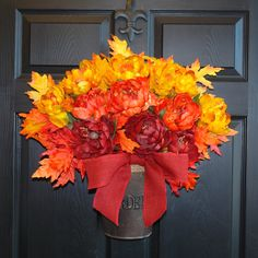 fall wreath fall autumn wreaths ombre yellow orange by aniamelisa, $85.00