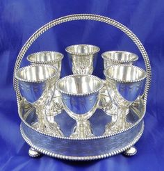 Victorian c1860 Silver Plated 6 Egg Cup Cruet Stand