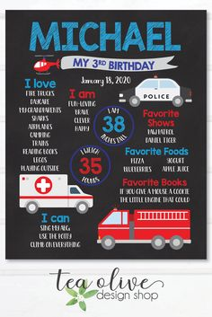 Emergency Vehicle Birthday Chalkboard Sign / Fire Truck, Police Car, Ambulance Birthday Poster / First, Second, Third Birthday Board for Boy Cars Birthday Parties, Minnie Birthday, Third Birthday, Birthday Drawing, Design Shop, Photo Birthday Invitations, Birthday Chalkboard, Birthday Board, Fire Truck