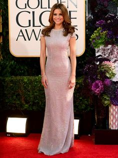 Maria Menounos wore a sleeveless sequined column gown at the Golden Globes 2013.