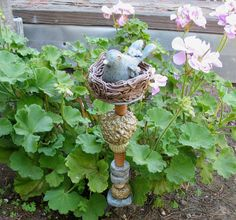Clay Bird Totem with Clay Nest and Beads   Garden by SallysClay, $24.00                                                                                                                                                                                 More