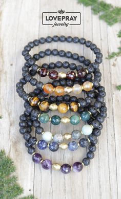 New month brings new styles to lovepray! Check out our new super chic aromatherapy lava rock chakra bracelets. Handmade jewelry that helps you balance your energies all day long. Diy Jewelry, Beaded Jewelry, Handmade Jewelry, Jewelry Making, Beaded Bracelets, Chakra Jewelry, Chakra Bracelet, Yoga Bracelet, Essential Oil Jewelry