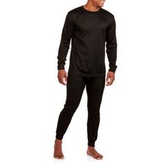 Big Men's 2-Piece Thermal Top and Bottom Set, Size: 2XL, Black