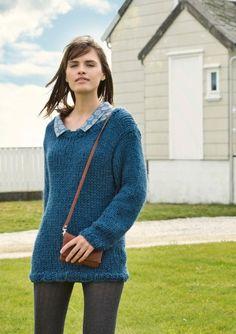 Oppskrifter - Alle gratisoppskrifter - Genser - Dame - Strikke - Norsk - Sandnes Garn Thick Sweaters, World Traveler, Knitting Designs, Dame, Free Pattern, Pullover, Knits, Dresses, Repeat