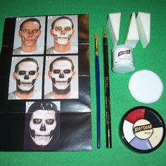 Professional Skull Makeup Kit Face Painting Stage Costume Skeleton Grim Reaper #Graftobian