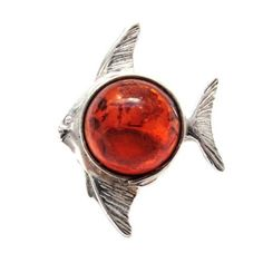 Baltic Honey Amber Sterling Silver Museum Collection Classic Small Fish Pin 19th Century Ian and Valeri Co.. $14.00. Save 60% Off!