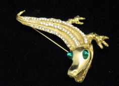 KJL - Kenneth Lane 18K Gold Plated  Figural Alligator Crocodile Brooch Pin