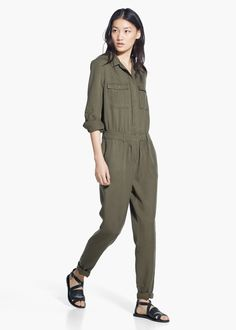 Long chest-pocket jumpsuit