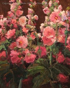 Hollyhock Variety - Oil by Kathryn Stats
