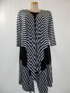 Comfy USA - Modal Black/White Stripe 3/4 Sleeve Megan Shrug