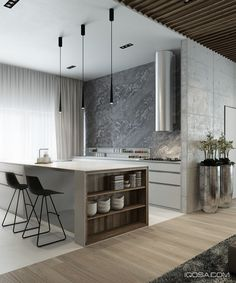Sharp contrast defines the kitchen. Color, form, and materials change abruptly…