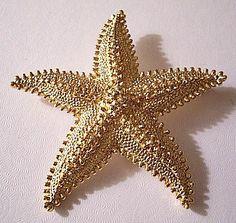 Monet Starfish Pin Brooch Gold Tone Vintage Pebbled Raised Nail Heads | PrettyJewelryThingsStore - Jewelry on ArtFire