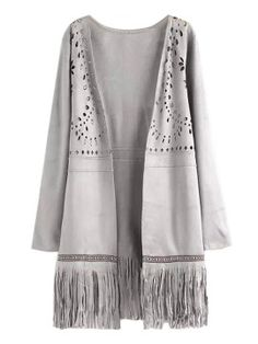 Shop Gray Suedette Laser Cut Fringe Coat from choies.com .Free shipping Worldwide.$40.99
