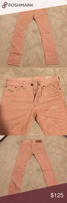 Men's Diesel THAVAR slim skinny premium denim Salmon colored. Distressed - like feature is slight discoloration (made that way). These have only been worn once. Basically new without tag. Paid $250+ for them. Wash is 0801D. THAVAR fit. Slim skinny. Size w 31. Made in Italy. Inseam 32 in. Outseam 42 in from waist to bottom. These are to die for. Very unique and flattering. Diesel Jeans Skinny