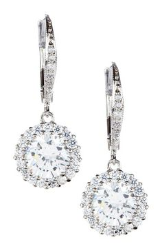 Round CZ Halo Dangle Earrings on HauteLook