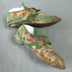 Embroidered Shoes 1740's/50's These were clearly for an older lady who required a comfortable shoe rather than one with a fashionable high heel.Embroidered Shoes