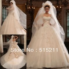 LUXURY 2014 WEDDING GOWNS | ... Long Train Princess Bride Ball Gown Wedding Dresses 2014 Free Shipping
