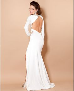 Jovani Long Sleeve Matte Jersey Gown w/Open Back & Crystals in Red Size 6 (Shown in Off-White)-BESSIE'S PICK!
