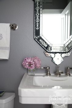 Dark Gray Walls and Venetian Mirror || Shea McGee Design || Photo by Bethany Nauert