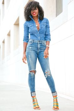 Style Pantry | Denim Shirt + Distressed High Waist Jeans