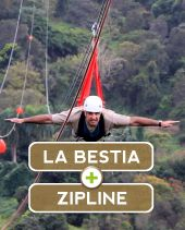 With our special harness you'll fly like a bird on one of the World's longest single run zip-line. With a length of 4.745 feet (1.446km) we are sure you will find this tour exhilarating as you approach speeds up to 60MPH. $65 pp.