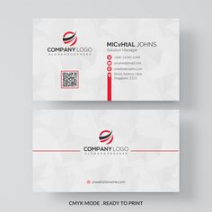 White business card with red details Free Psd Free Printable Business Cards, Make Business Cards, Professional Business Card Design, Letterpress Business Cards, Business Flyer Templates, Modern Business Cards, Photoshop, Visiting Card Design, Bussiness Card