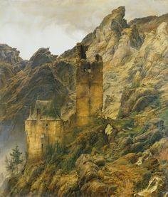 Carl Friedrich Lessing (1808-1880)  Paysage montagneux : ruines dans une gorge, 1830  Huile sur toile - 138,2 x 120 cm