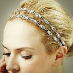CHRISTINE, Vintage Inspired Art Deco Wedding Headband, Rhinestone Bridal Headband, SWAROVSKI Crystal Oval Hair Accessories