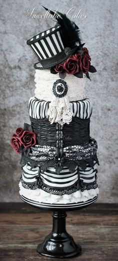 """Gothic wedding cake by Sweetlake Cakes  <br /><a href=""""www.sweetlakecakes.com """" target=""""_blank"""">Source</a><br />"""