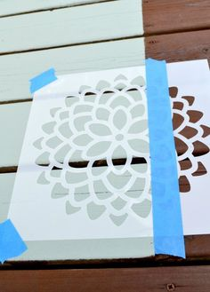 How to use a mum flower stencil to add a beautiful design to a painted rug on a deck or patio Painted Porch Floors, Porch Paint, Porch Flooring, Painted Rug, Painted Decks, Deck Rug, Patio Rugs, Outdoor Rugs, Outdoor Living