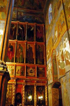 Icon filled walls at Archangel Michael Cathedral. Moscow, Russia.
