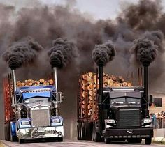 Kenworth custom W900L and a Peterbilt custom 379 blowin coal