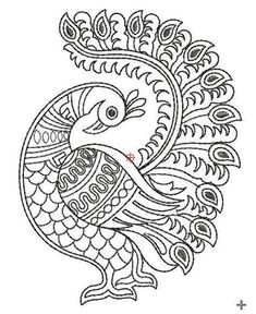Grand Sewing Embroidery Designs At Home Ideas. Beauteous Finished Sewing Embroidery Designs At Home Ideas. Peacock Embroidery Designs, Madhubani Art, Drawings, Fabric Painting, Design Art, Design Art Drawing
